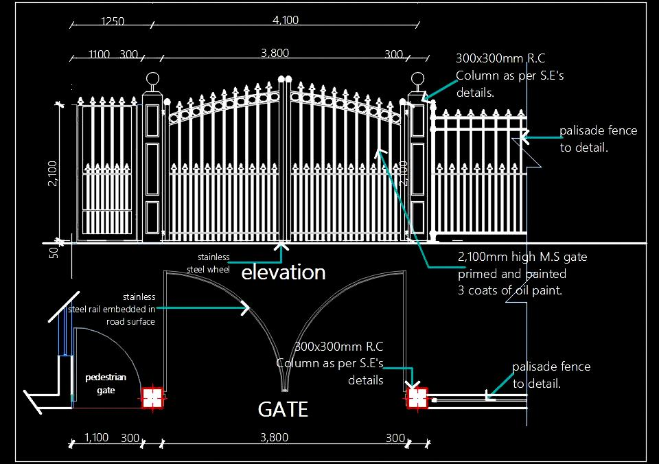 M S  Main Entrance Gate Design dwg Details - Autocad DWG
