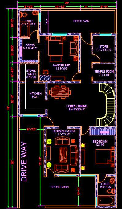 House Architectural Space Planning Floor Layout Plan 35