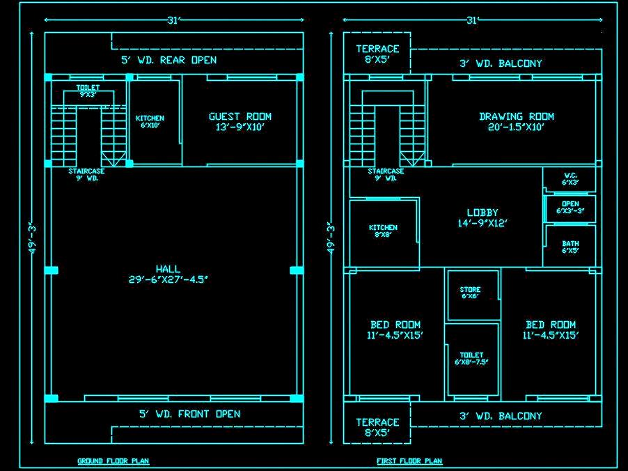 House Space Planning 30'x50' Floor Layout Plan DWG Drawing