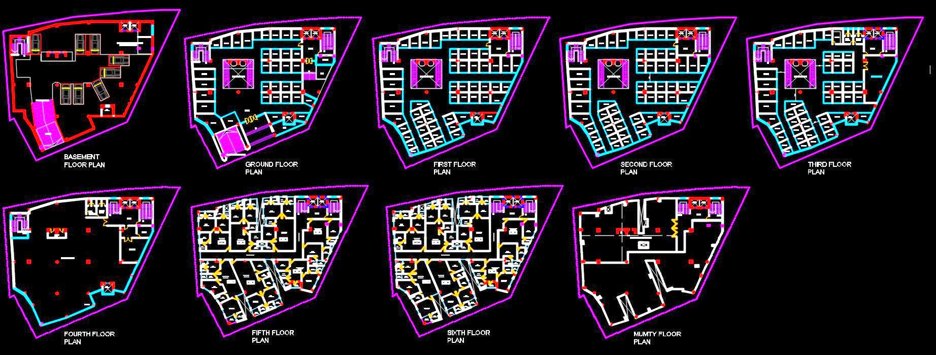 Commercial Complex (Shopping Mall cum Residential Apartments) DWG Layout Plan