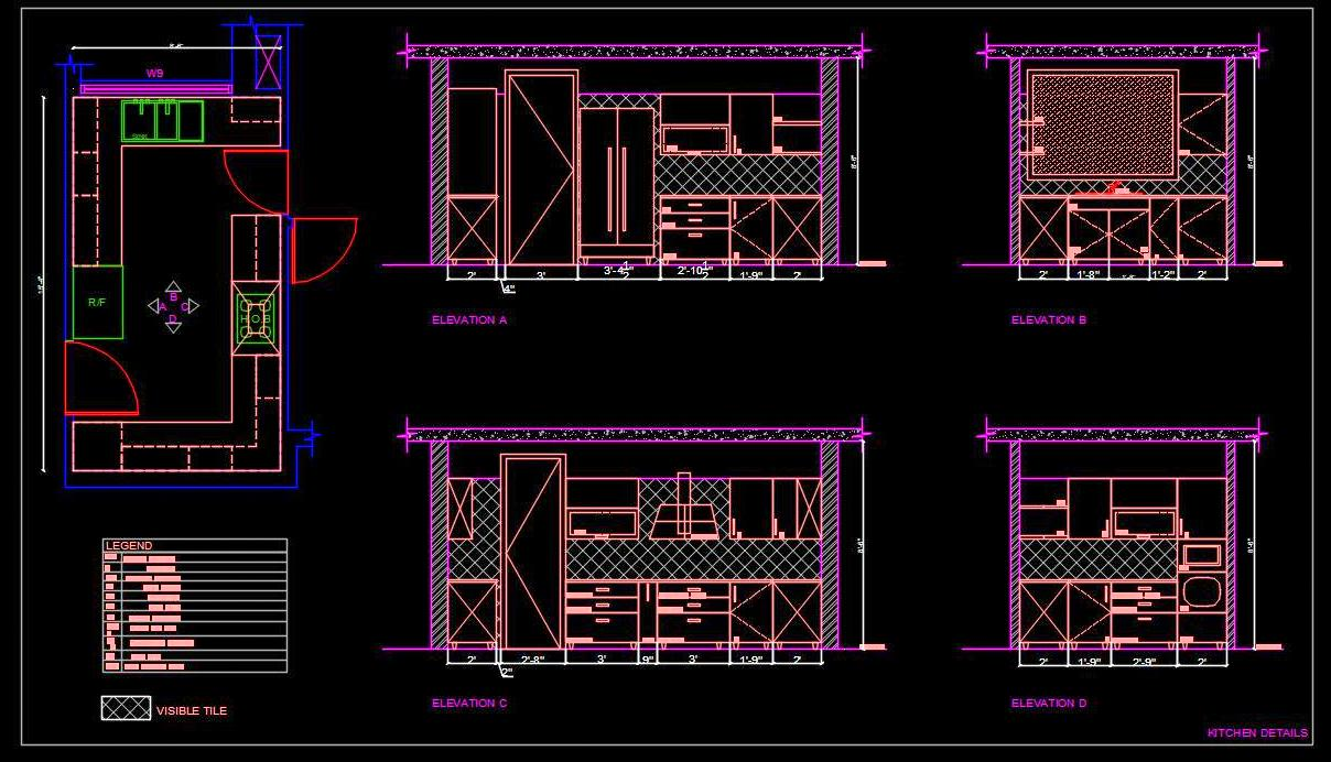 Modular Kitchen Cad Drawing Free Download Autocad Dwg Plan N Design