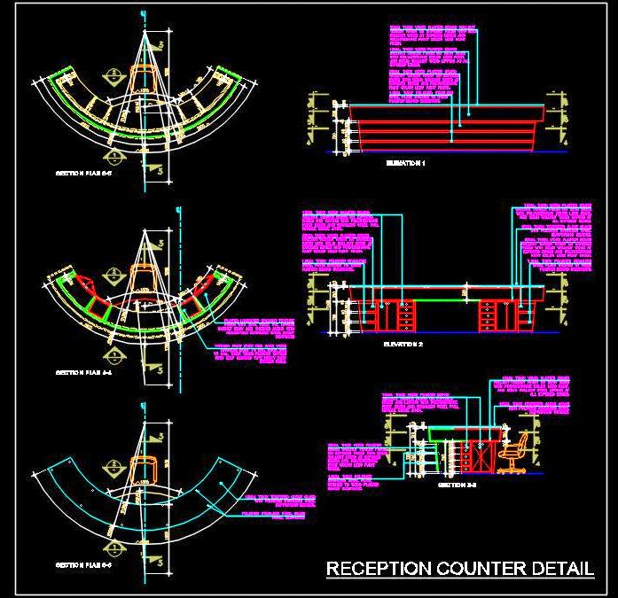 Curved Reception Desk Detail Dwg Drawing