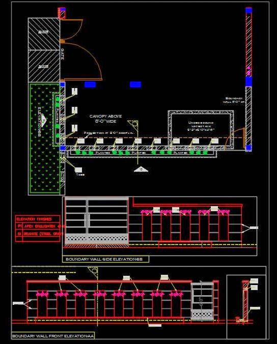 Boundary Wall and Main Gate Design Detail dwg
