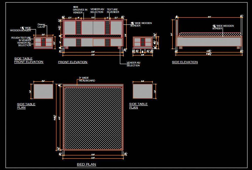 Double Bed Cad Furniture Design Detail