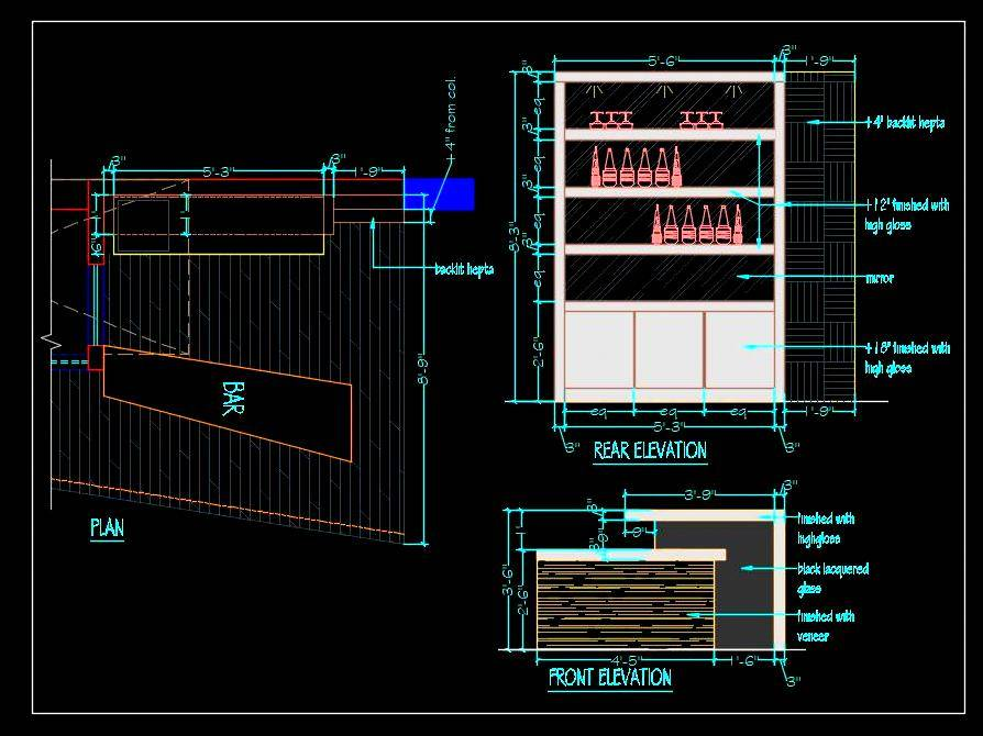 Home Bar Counter Detail Cad Drawing
