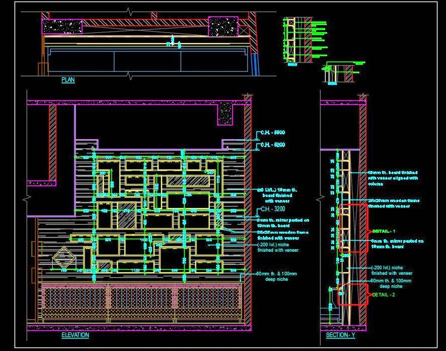 Interior Feature Wall Cad Design Detail