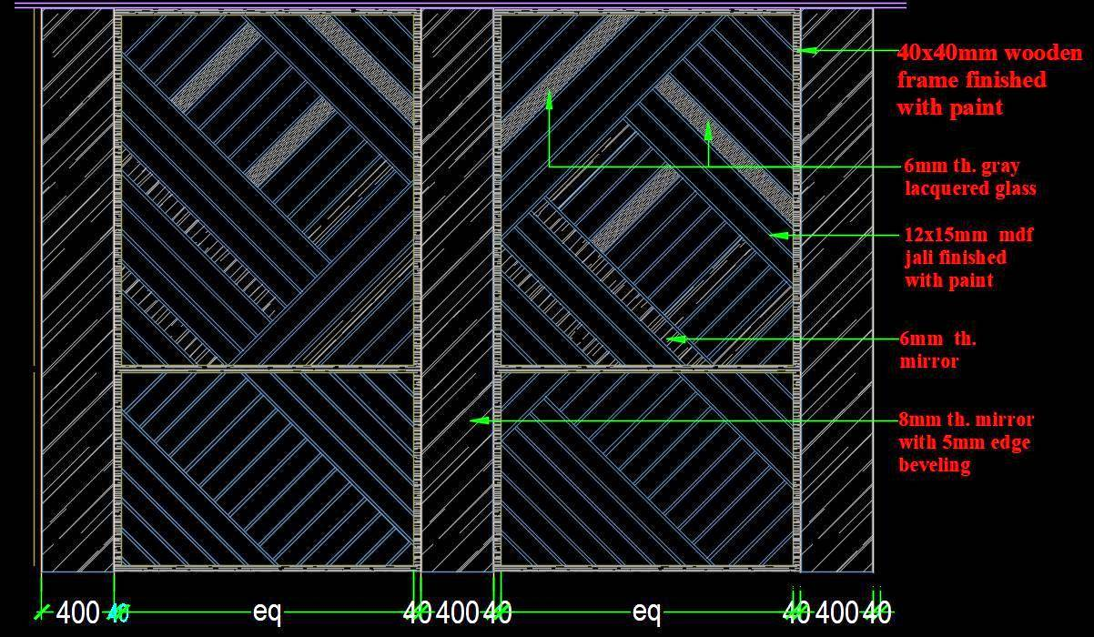 Jali Design Partition Feature Wall Cad Block
