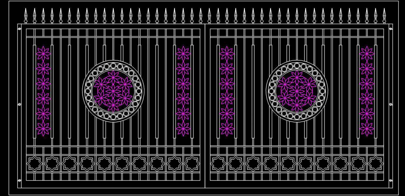 Main Gate Elevation Design Cad Block