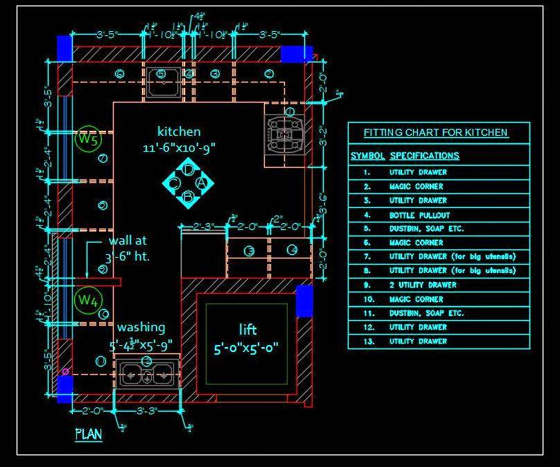 Modular Kitchen Layout Plan in Autocad