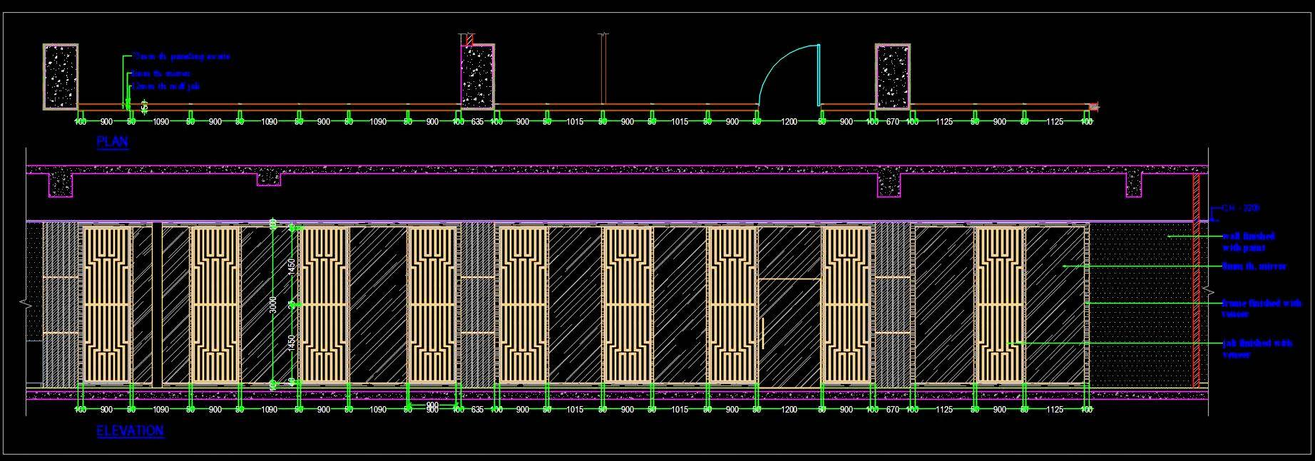 Wooden Partition- Screen- Room Divider- Jali Deign Drawing dwg