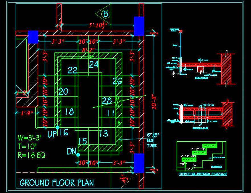 Wooden Staircase Sectional Detail DWG File