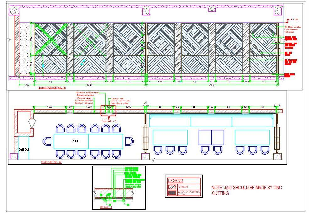 Wooden Wall Panelling in Jali Design Cad Detail