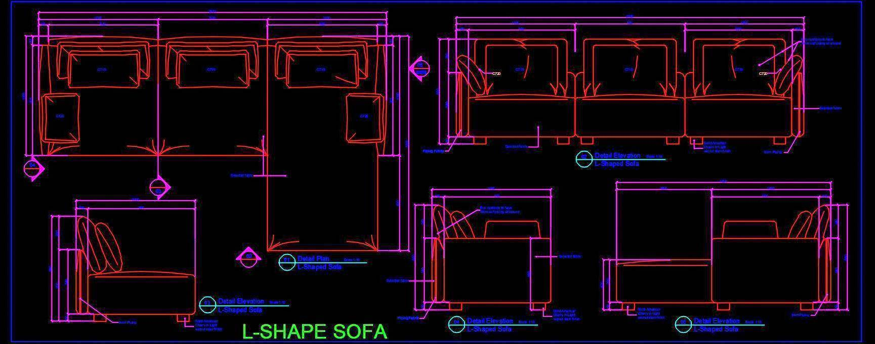 Corner L Shape Sofa with Cushions Working DWG Drawing