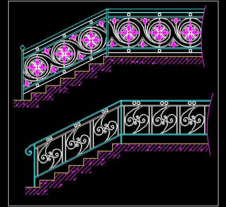Decorative Metal Railing Cad Block