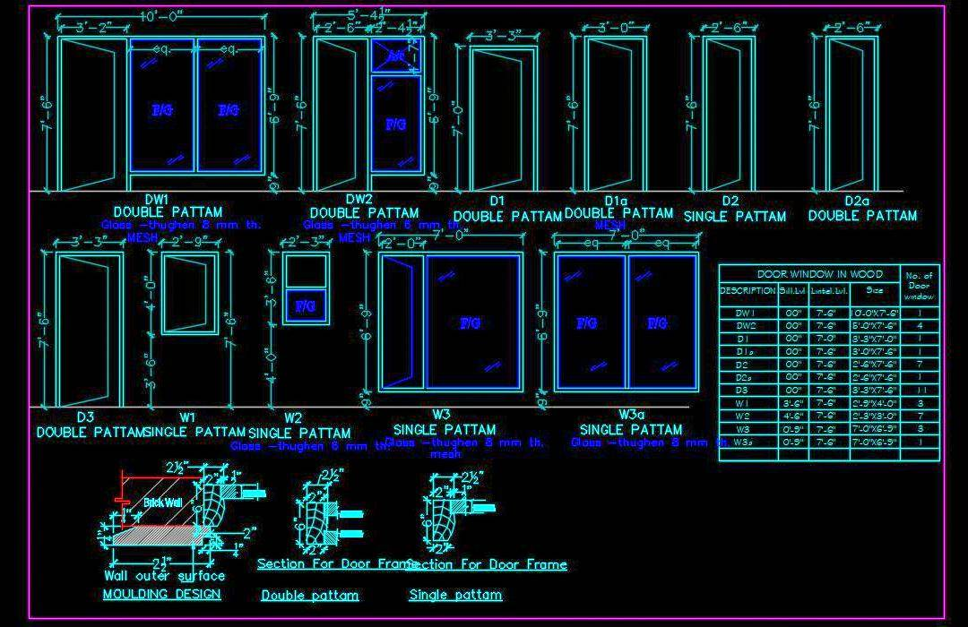 Door Window Elevation And Jamb Secrion Cad Drawing