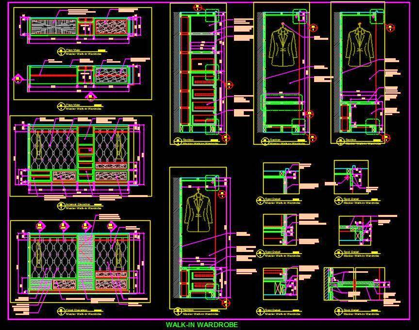 Huge Walk-in Closet Cad Working Drawing Detail