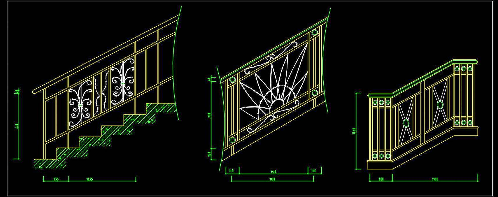 Stairase Railing Design Cad Block Free Download