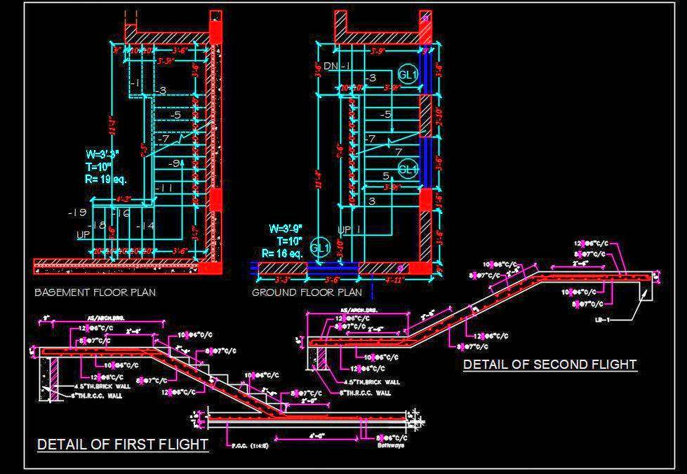 Staircase Structure Design DWG Detail