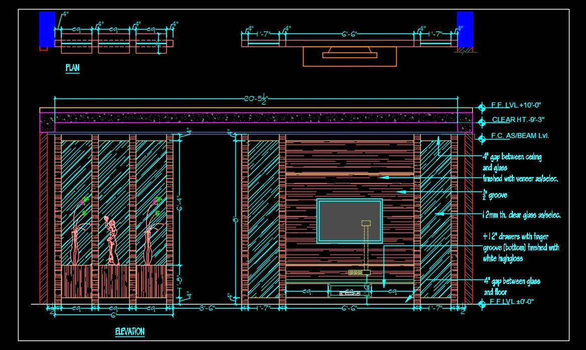 TV Unit cum Room Divider Partition (Plan and Elevation) dwg