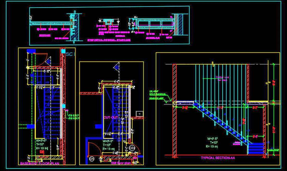 Picture of: Wooden Floating Staircase Design Detail Dwg Drawing Autocad Dwg Plan N Design