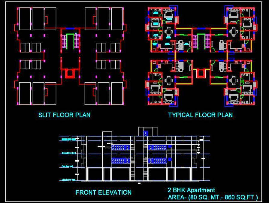 2 Bedroom Apartment Building Autocad Architecture Dwg