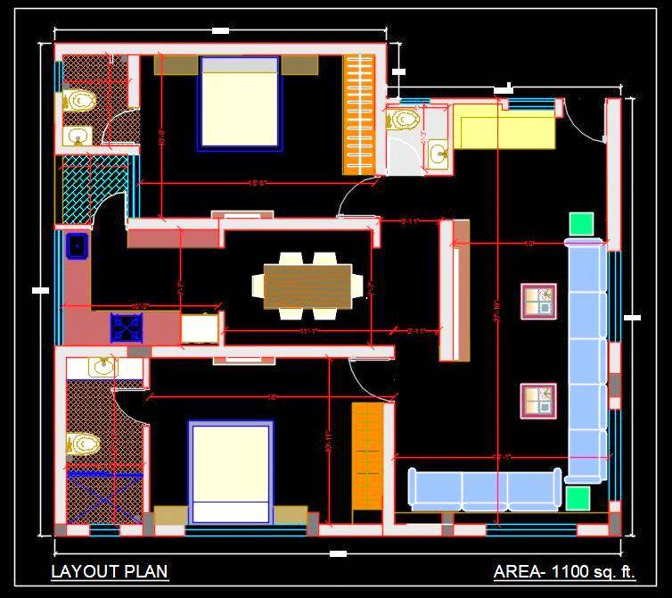 2 Bhk Apartment Autocad House Plan Drawing Free Download Autocad Dwg Plan N Design