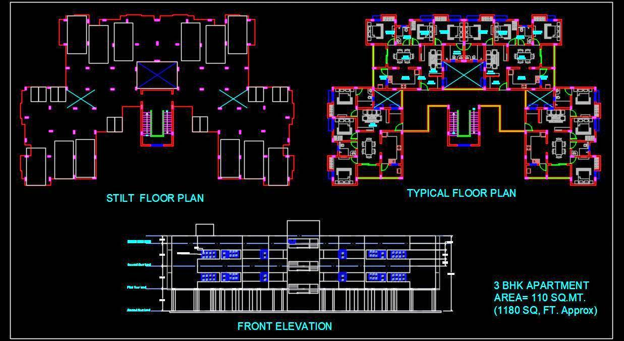 3 Bedroom Apartment Building- Autocad Architecture dwg file download