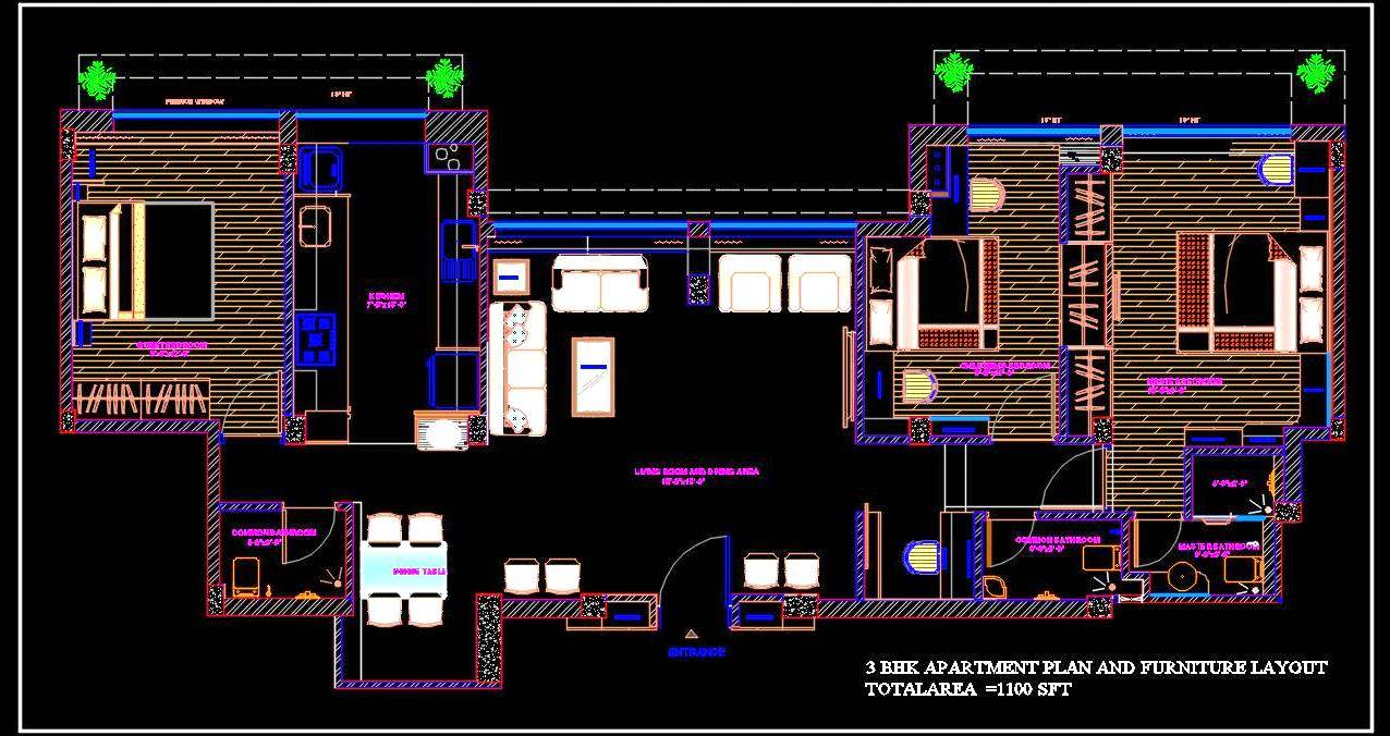 3 BHK Flat- Apartment Cad Layout Plan