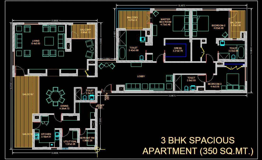 3 BHK Flat- Apartment DWG Layout Plan