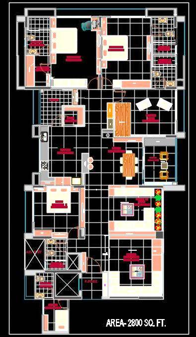 3 BHK  Luxurious Apartment Autocad House Plan Drawing Download