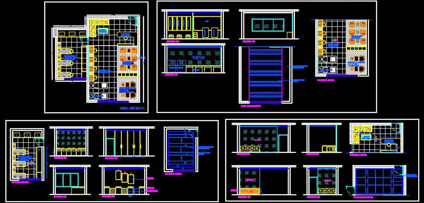 Beauty Salon Floor Plan Layout DWG File Download