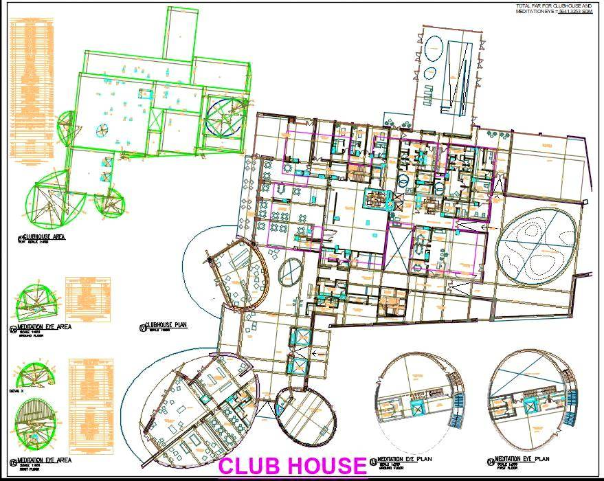 Clubhouse Design CAD Plan DWG Drawing