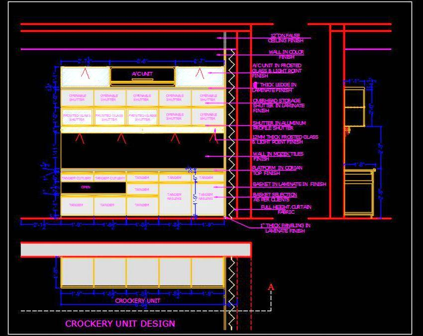 Crockery Cabinet Design DWG File Download