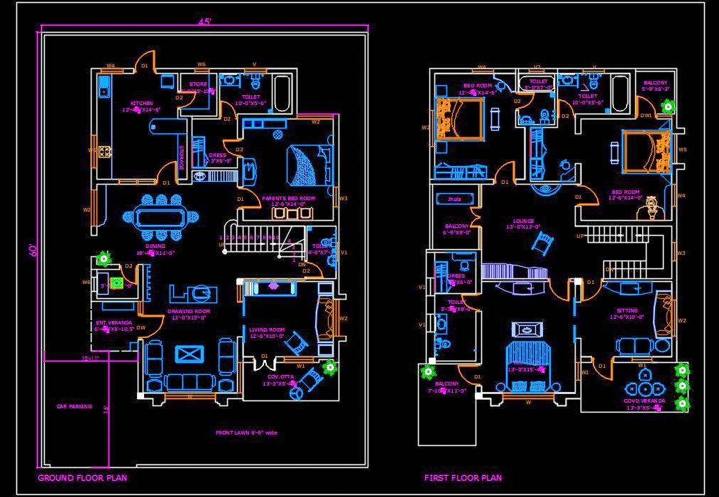 Duplex House 45 X60 Autocad House Plan Drawing Free Download Autocad Dwg Plan N Design