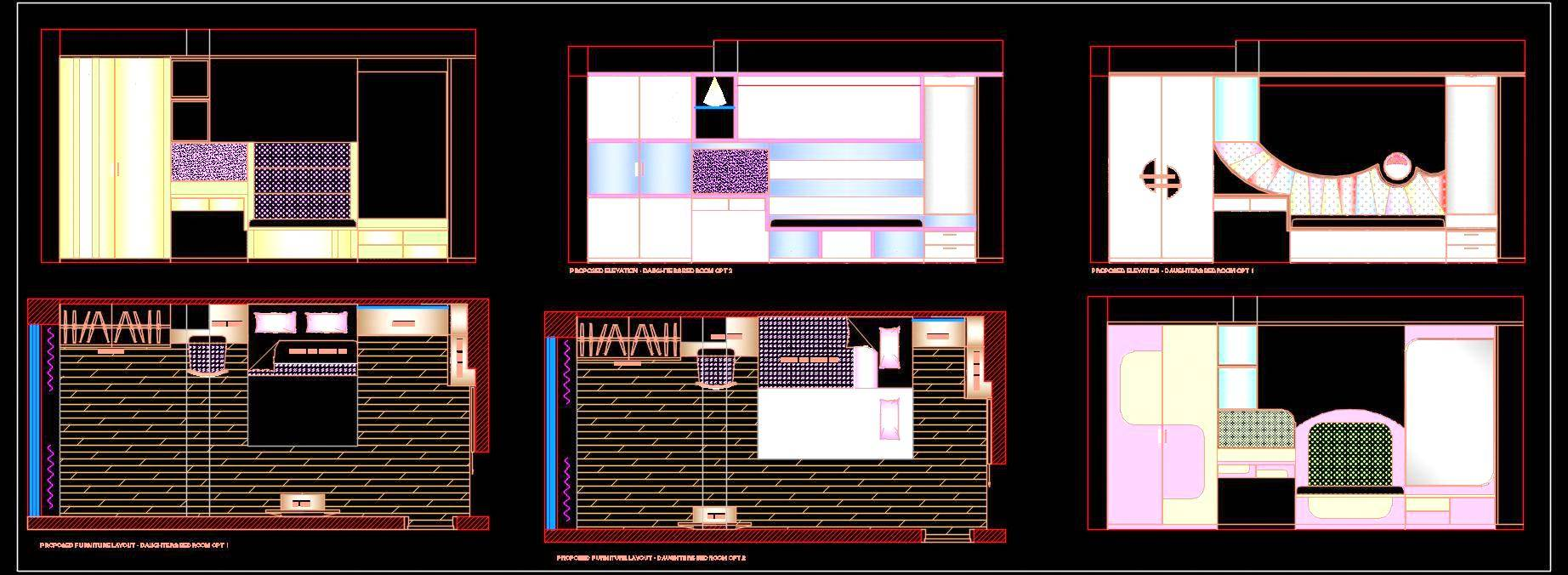 Girl Kid's Bedroom Plan and Interior Elevation DWG Detail