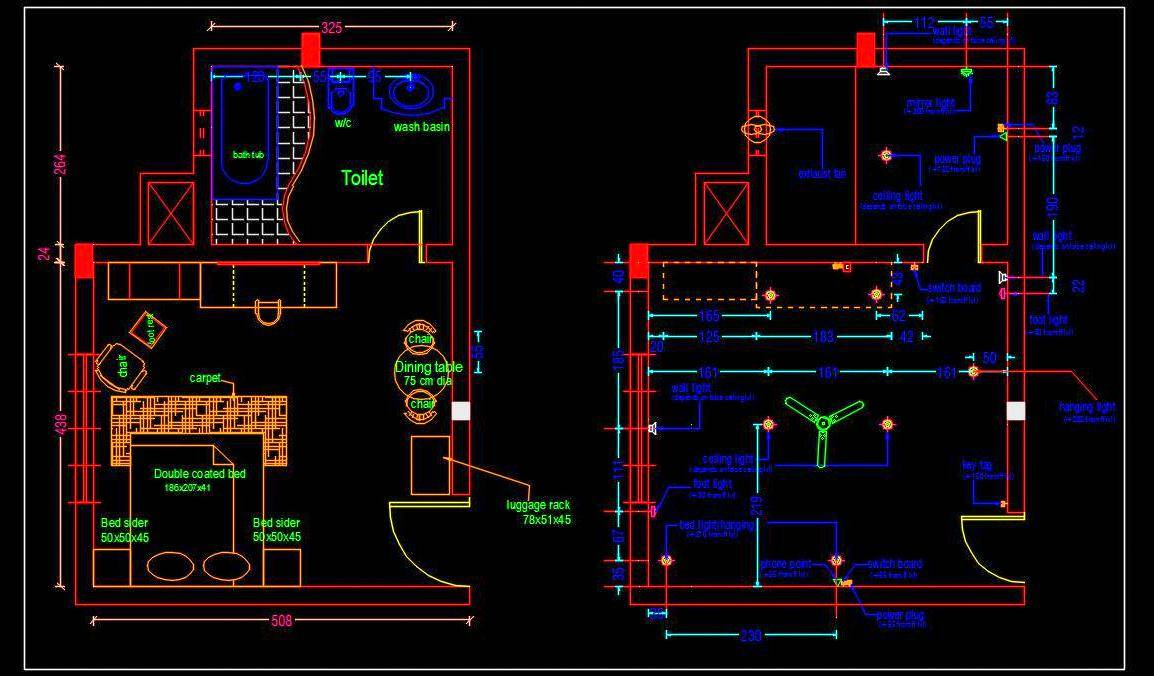 Hotel Guest Room Interior and Electrical Layout Plan Autocad Drawing free download