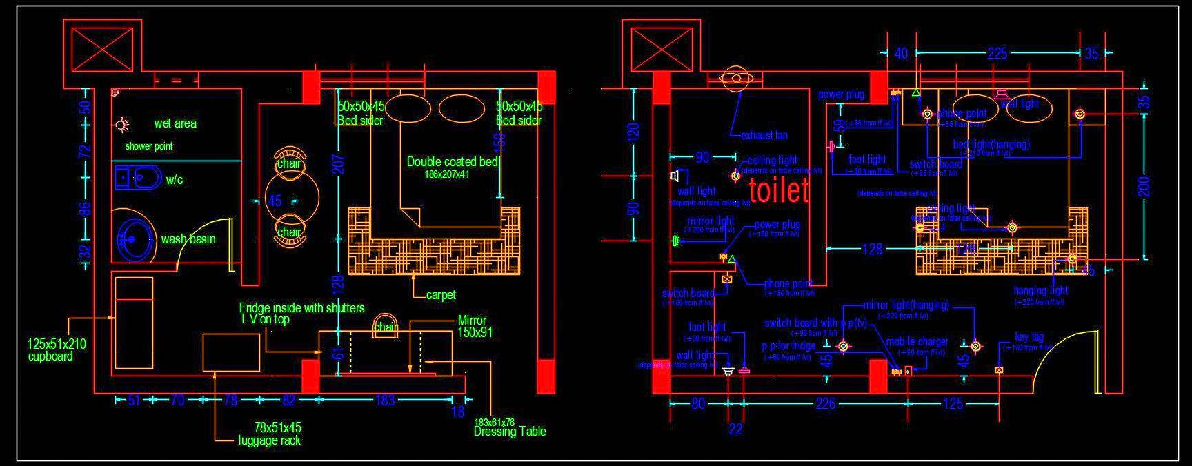 Hotel Guest Room Interior Floor Layout Plan Free Download Autocad Drawings Dwg Autocad Dwg Plan N Design
