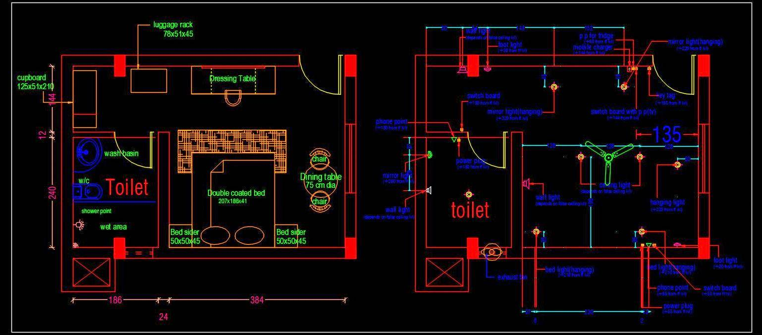 Hotel Guest Room Interior Floor Plan Cad Drawing free download