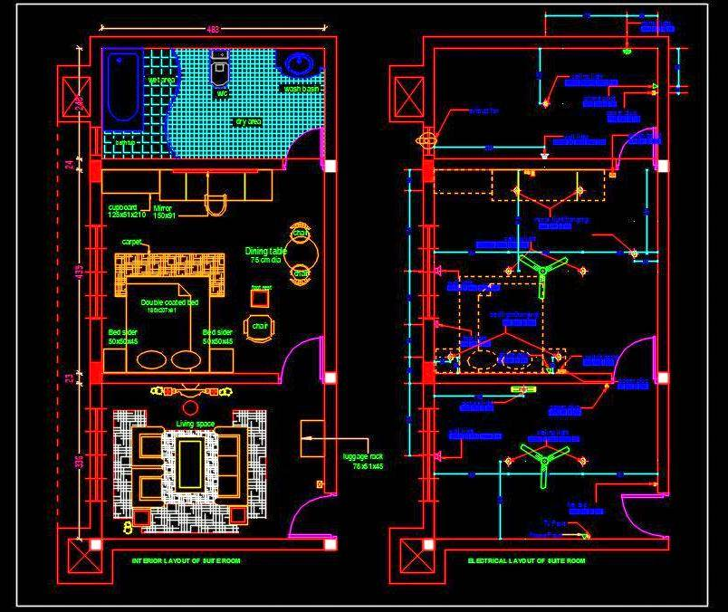 Hotel Suite Room Interior Floor Plan Dwg Drawing Autocad Design