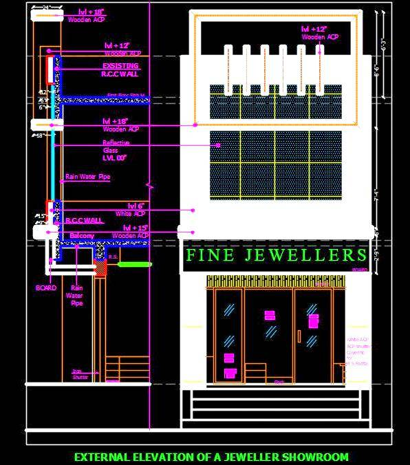 Jewellery Shop Elevation dwg cad Download