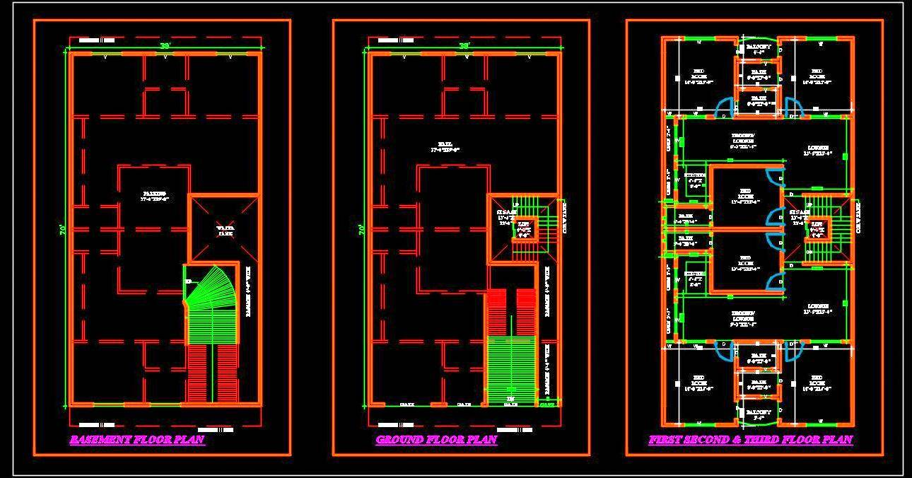Commercial Cum Multi-family Residential Building (40'x70') Autocad Architecture dwg file download