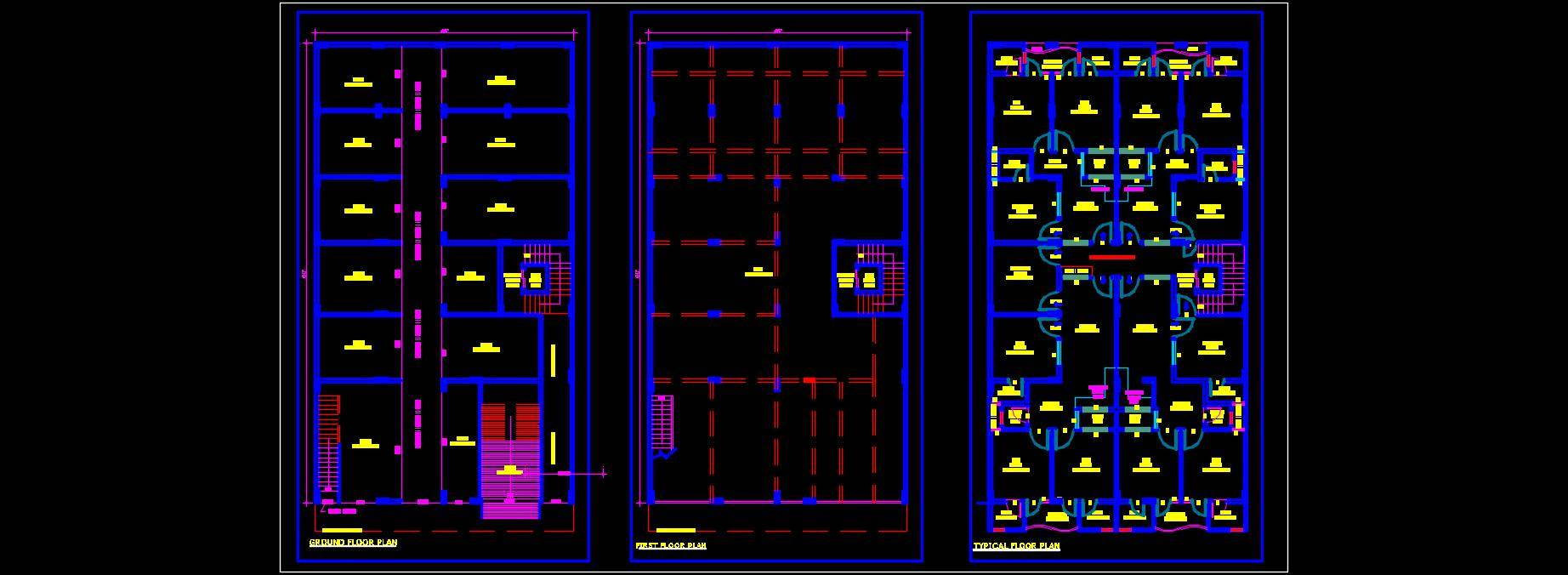Commercial Cum Multi-family Residential Building (45'x80') Autocad Architecture dwg file download