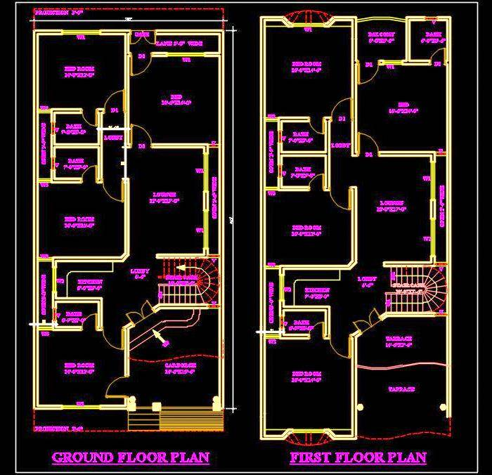 Autocad house plan drawing