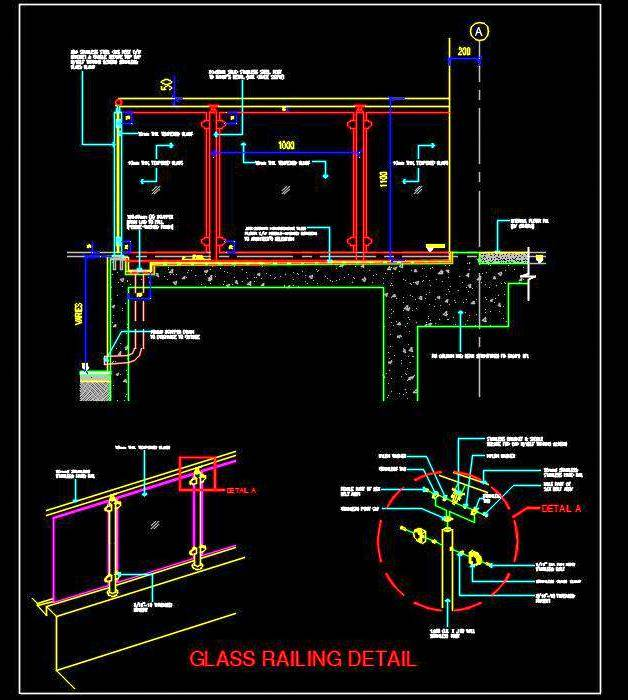 Glass Railing- Autocad construction detail