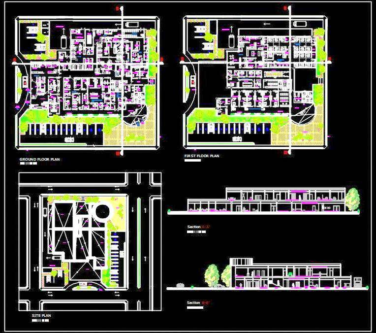 Hospital Architecture Floor Layout Plan DWG File Download