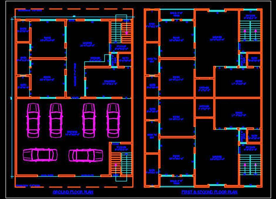 Multi-family Residential Building (45'x60') Autocad Architecture free dwg file download (option-1)