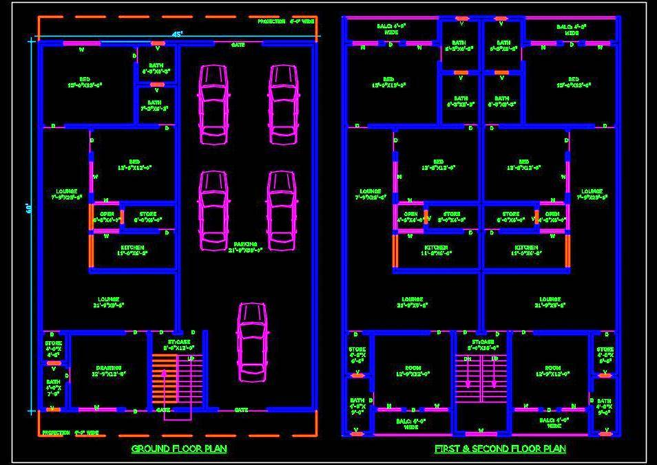 Multi-family Residential Building (45'x60') Autocad Architecture free dwg file download (option-2)