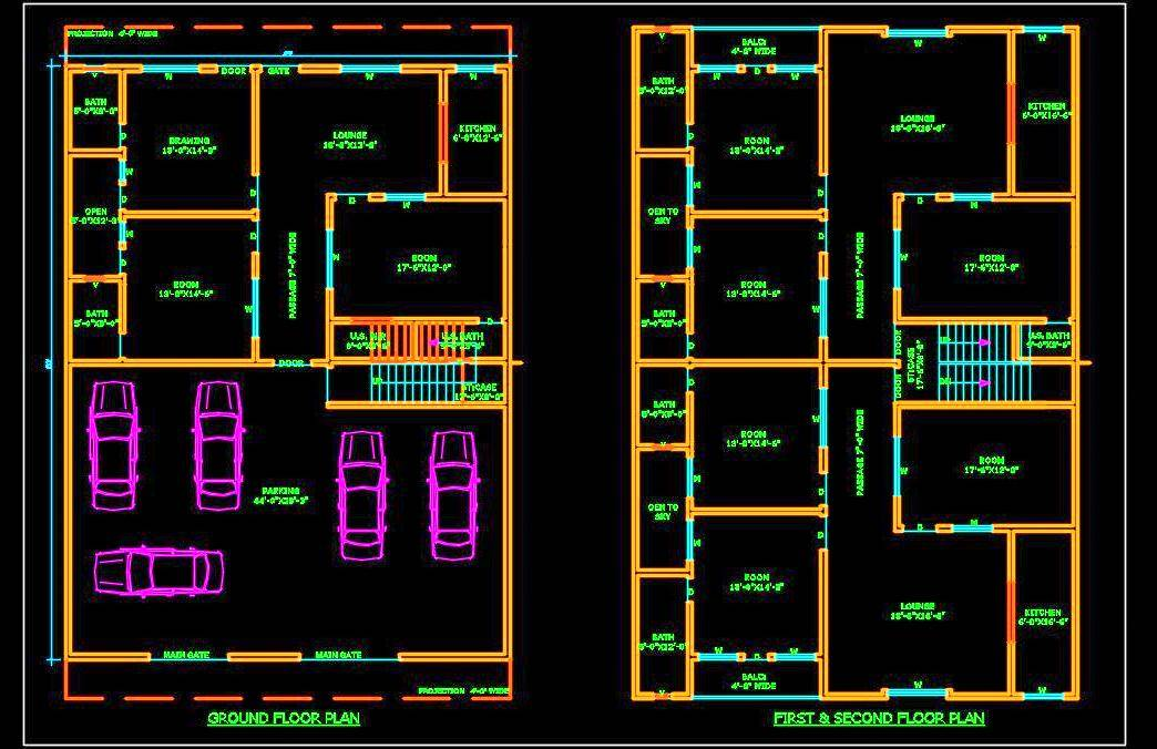 Multi-family Residential Building (45'x60') Autocad Architecture free dwg file download (option-3)