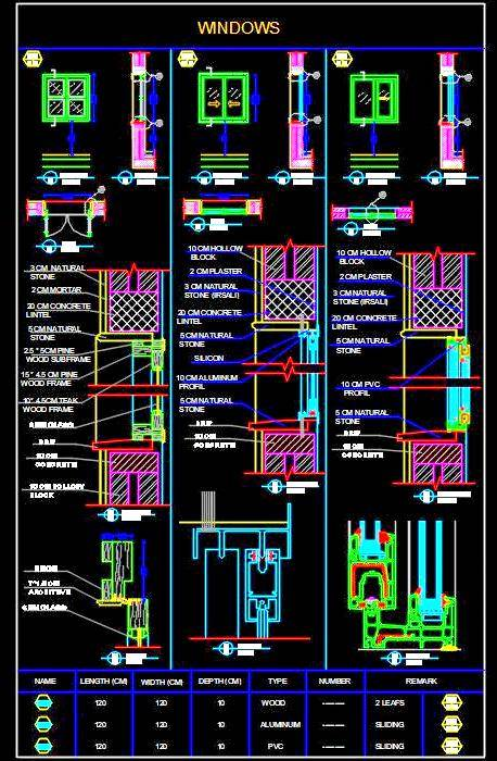 Aluminium, PVC and Wood Frame Window Cad Detail DWG