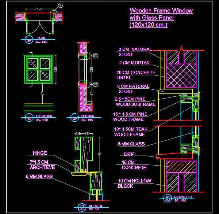Wood Window Cad Detail DWG Drawing